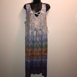 ONE WORLD Boho Sleeveless Dress~PLUS 2X~NWT~